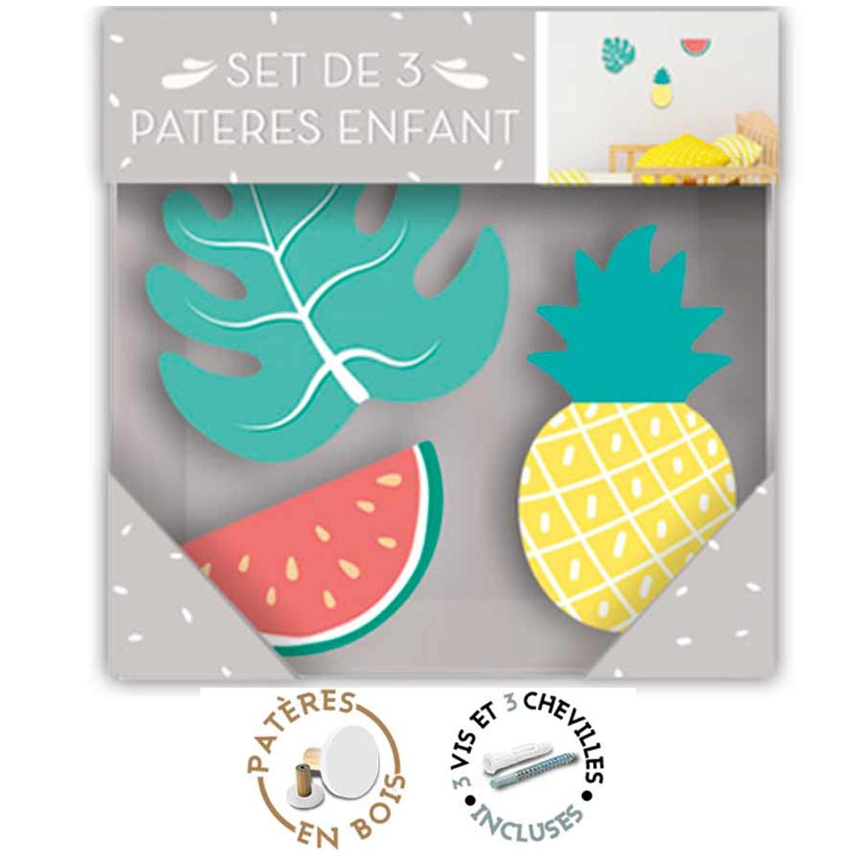 Trio de patères bois \'Tropical\' multicolore (monstera, pastèque, ananas) - 7x65 cm, 85x45 cm et 65x33 cm - [R1066]