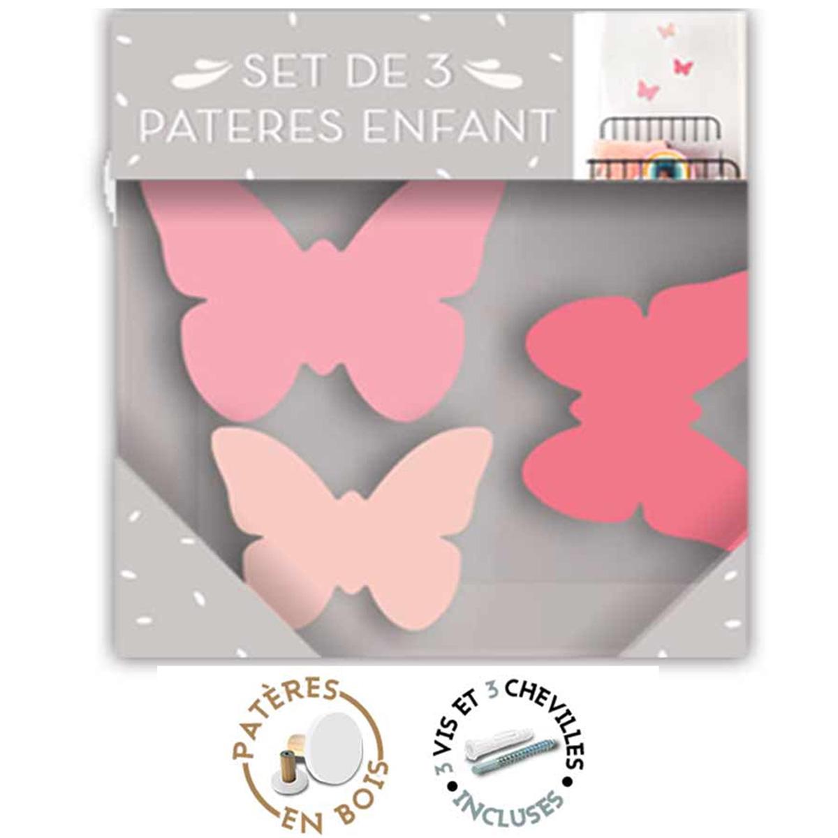 Trio de patères bois \'Papillons\' rose - 7x6 cm, 6x3 cm et 5x2 cm - [R1068]