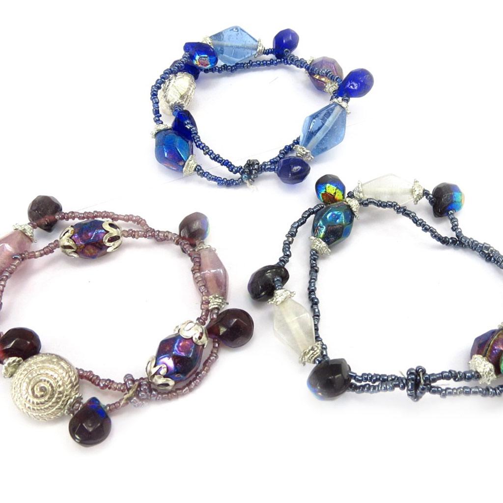 3 bracelets \'Calcutta\' rose bleu noir - [K3116]