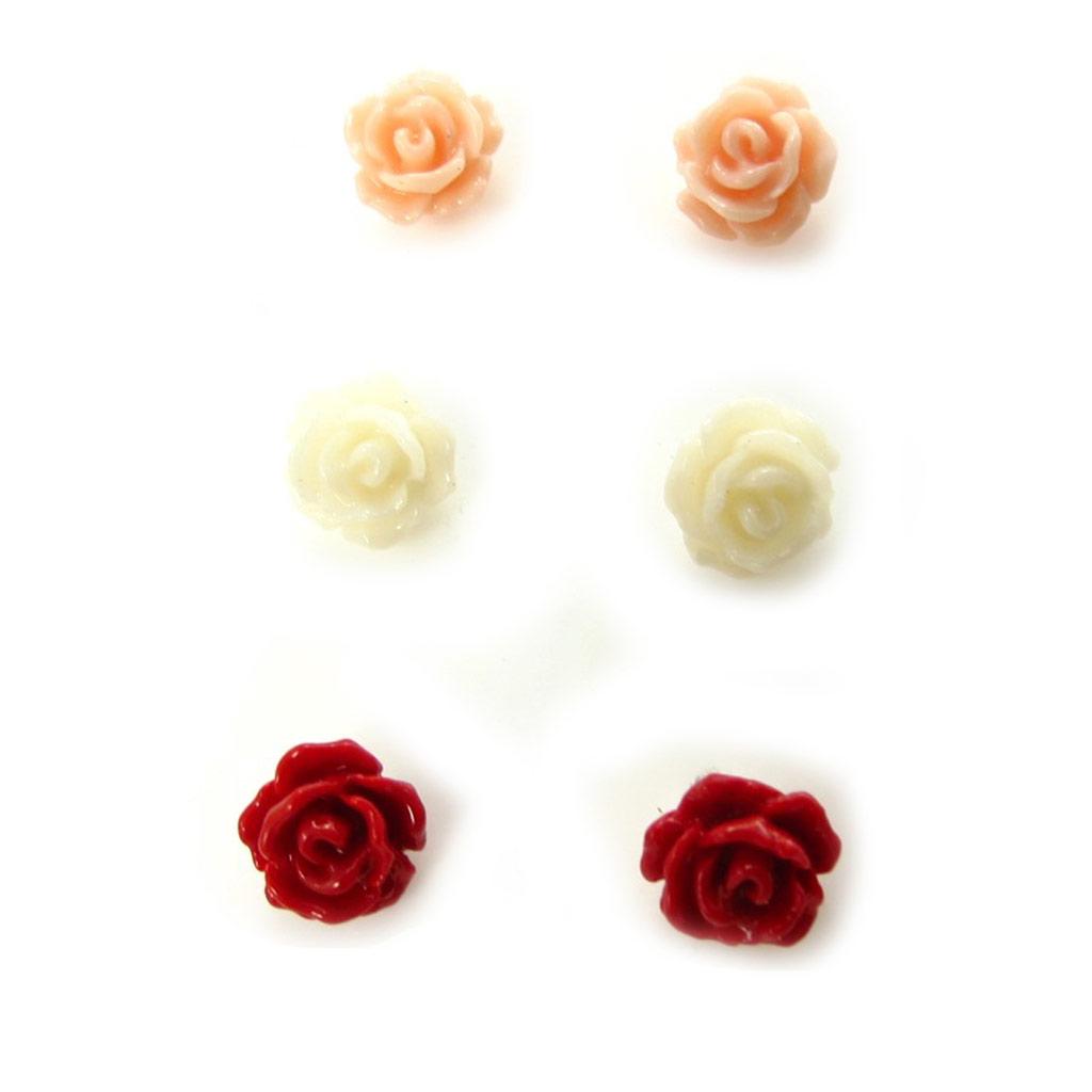 3 paires de boucles argent \'Rosa Romantica\'  - [K3137]