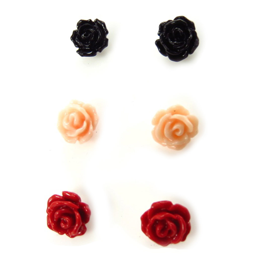 3 paires de boucles argent \'Rosa Romantica\'  - [K3138]