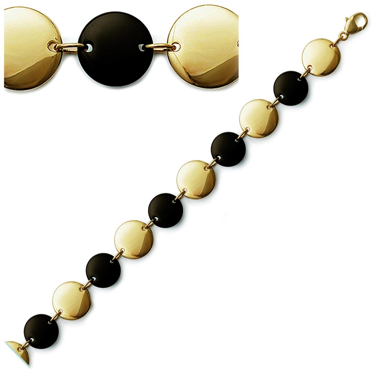 Bracelet Plaqué or \'Calypso\' onyx - 19 cm 15 mm - [J3852]