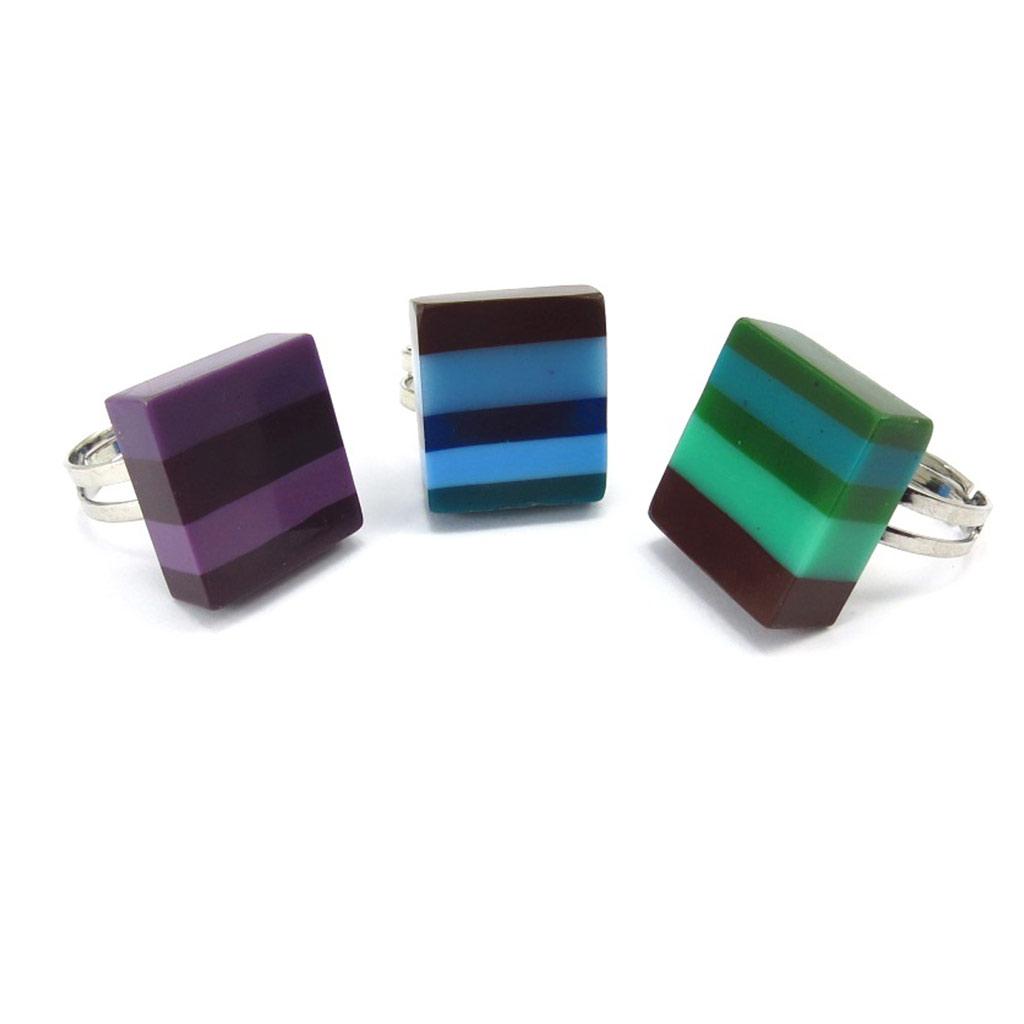 3 bagues créateur \'Coloriage\' violet bleu vert - [K3179]