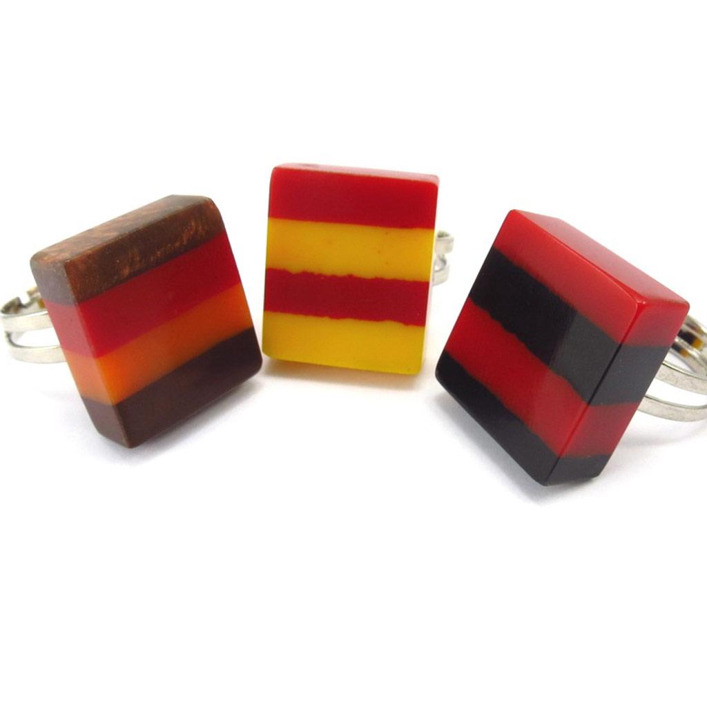 3 bagues créateur \'Coloriage\' rouge jaune - [K3180]