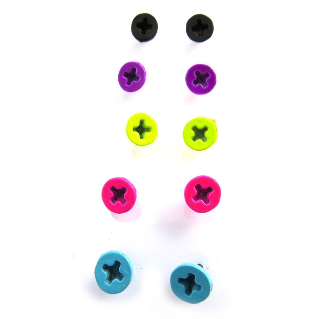 5 paires de boucles \'Coloriage\' tutti frutti (vis) - [M3285]