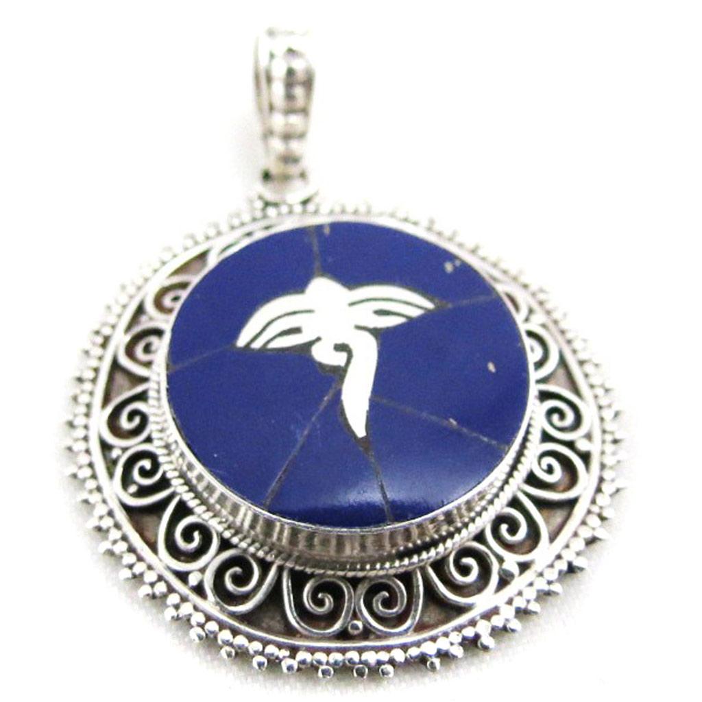 Pendentif Argent \'Hatari\' lapis lazuli  - [J3939]