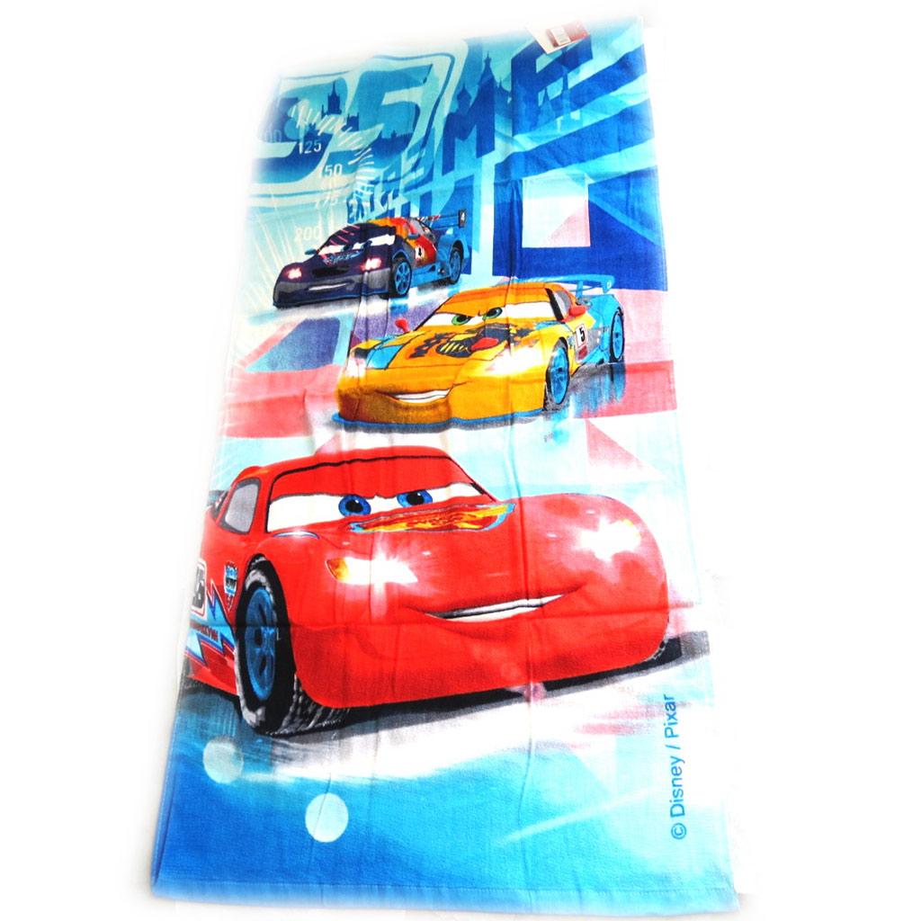 Drap de plage \'Cars\' bleu rouge (70x140 cm) - [M3345]