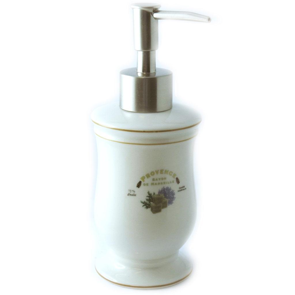 Distributeur de savon céramique \'Provence\' ivoire (rétro) - [M3363]