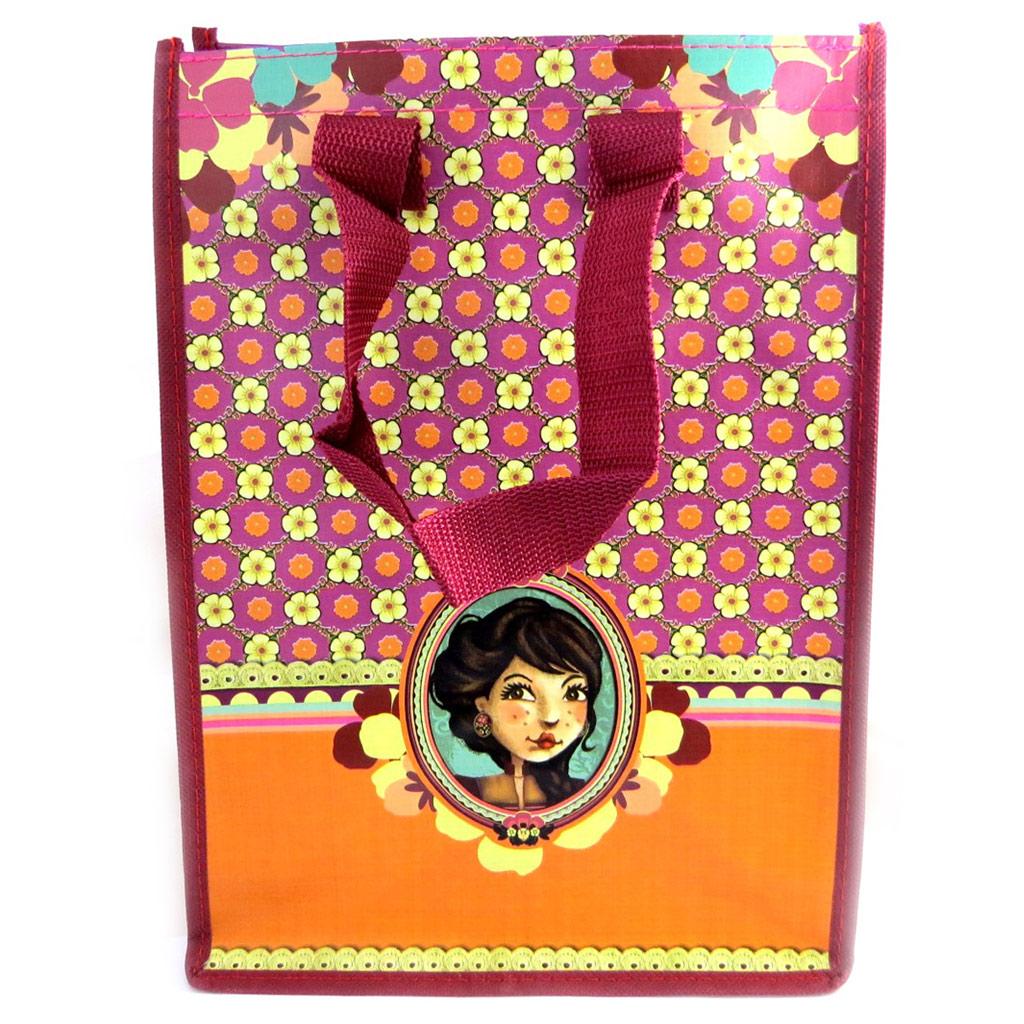 Sac Shopping rétro \'Lili Petrol\' orange bordeaux (Emily) - 35x25x19 cm - [M3390]