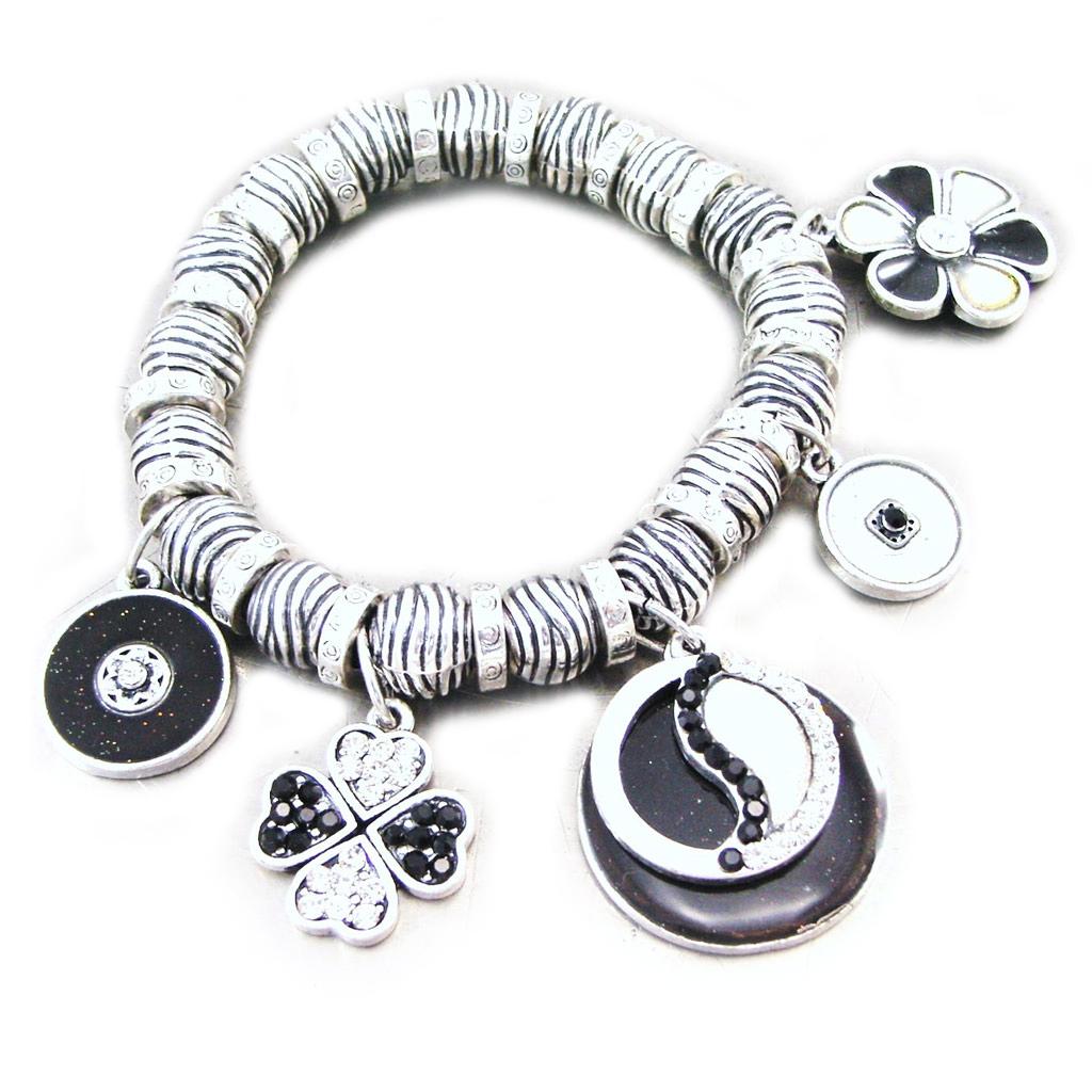 Bracelet Créateur \'Emilie\' noir argenté - [G5538]