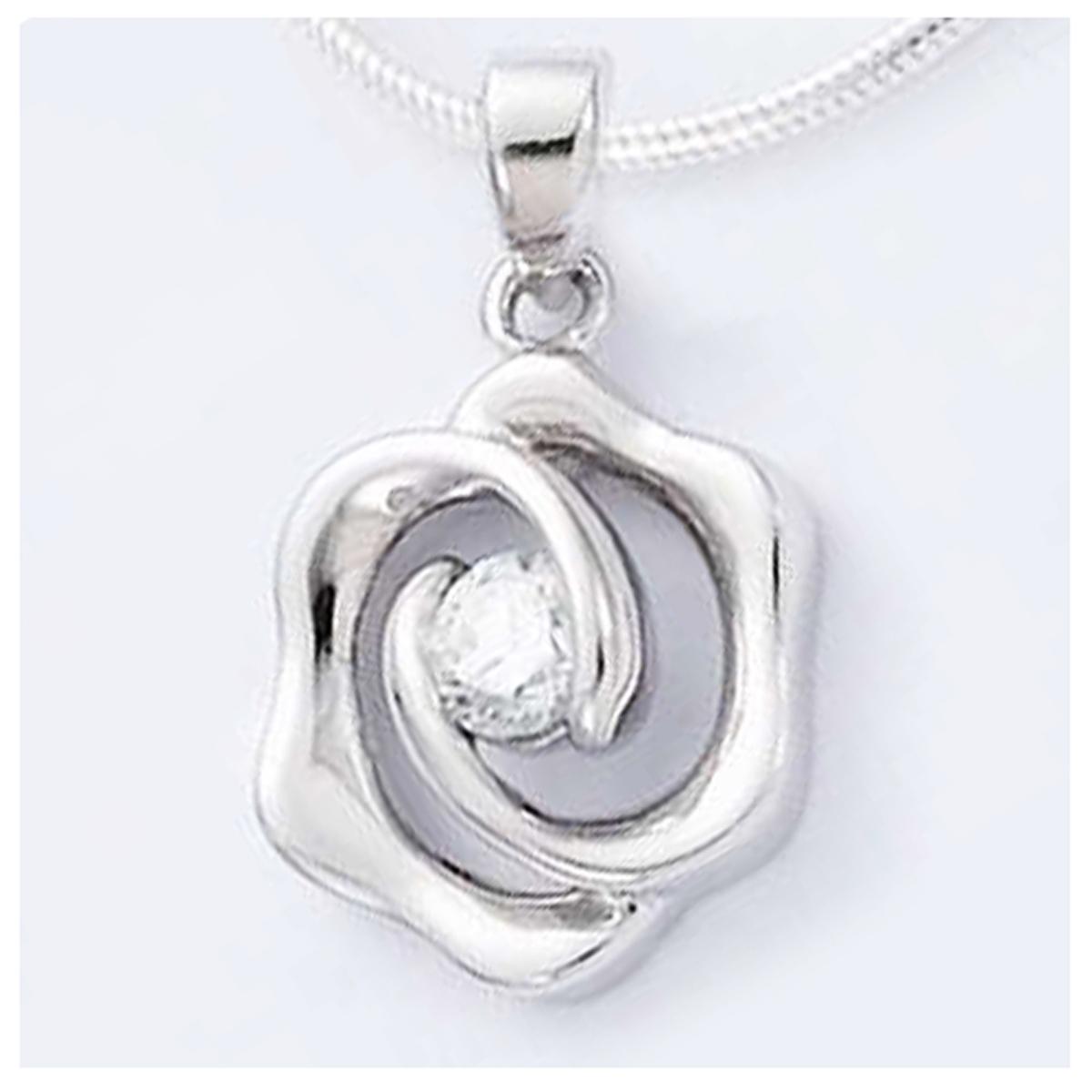 Pendentif Argent \'Câlin\' Blanc argenté (rhodié) - 11x13 mm (fleur) - [I4006]