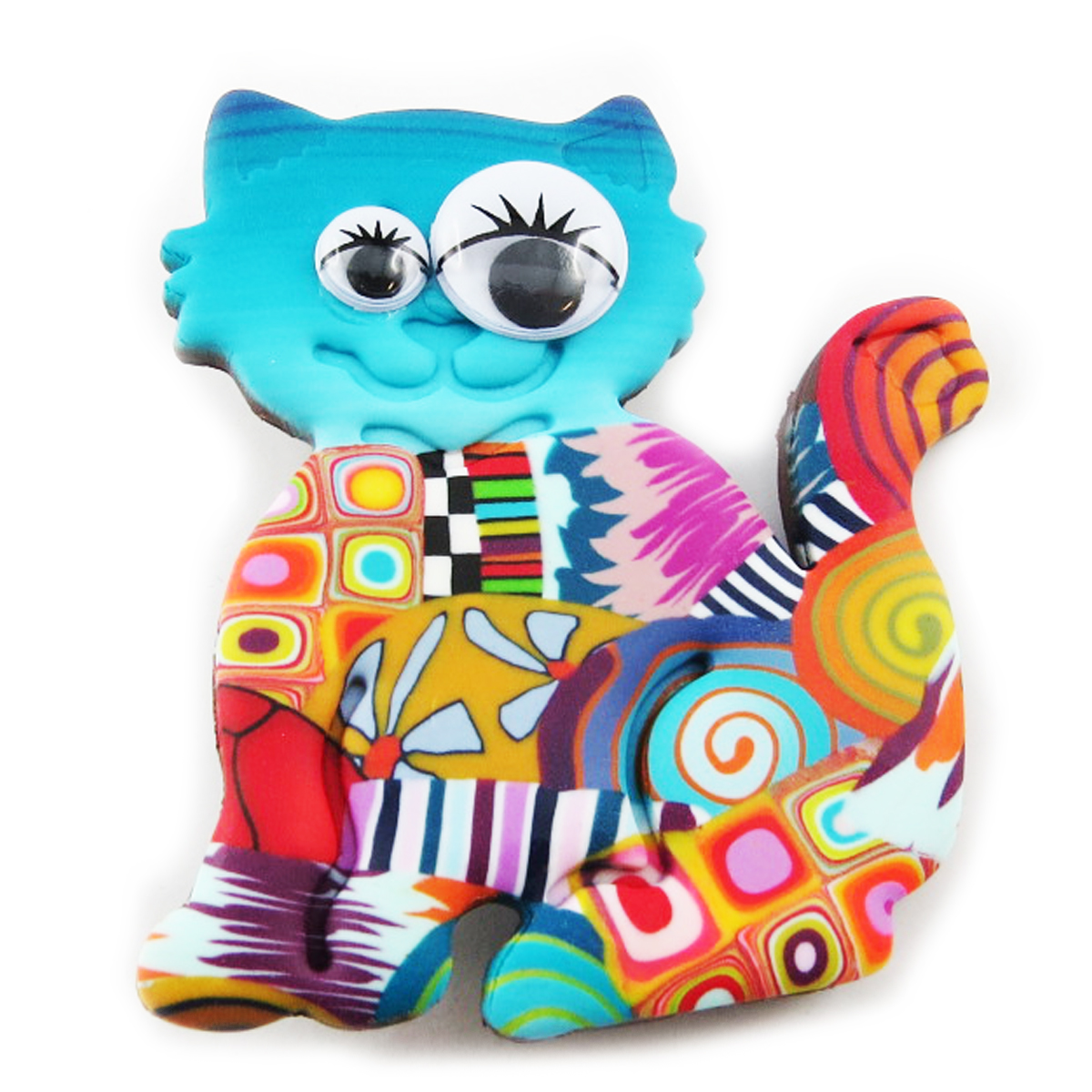 Broche artisanale \'Colombine & Arlequin\' multicolore (chat) - 60x50 mm - [R1179]
