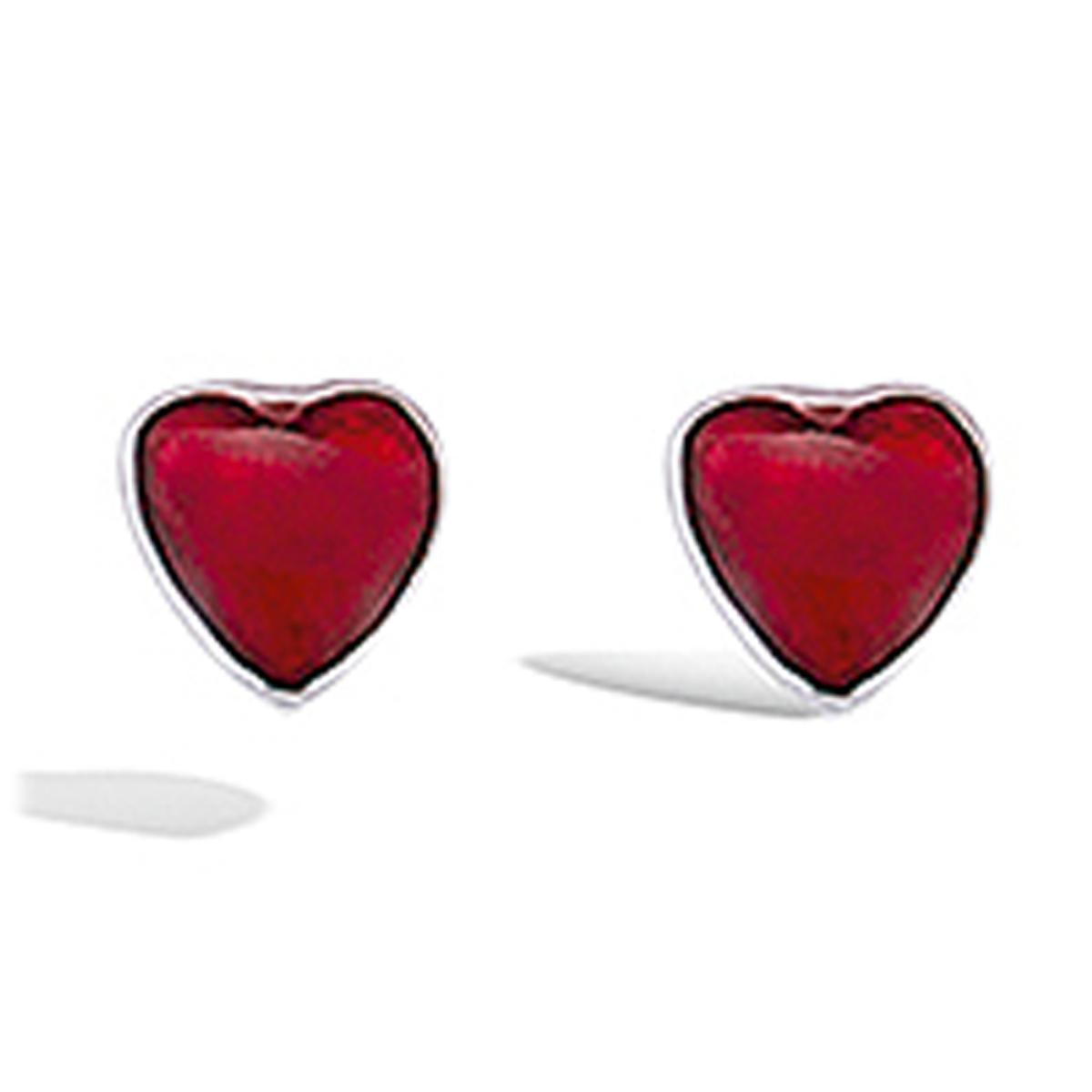 Boucles Argent \'Coeurs\' rouge argenté (rhodié) - 4x3 mm - [I4025]