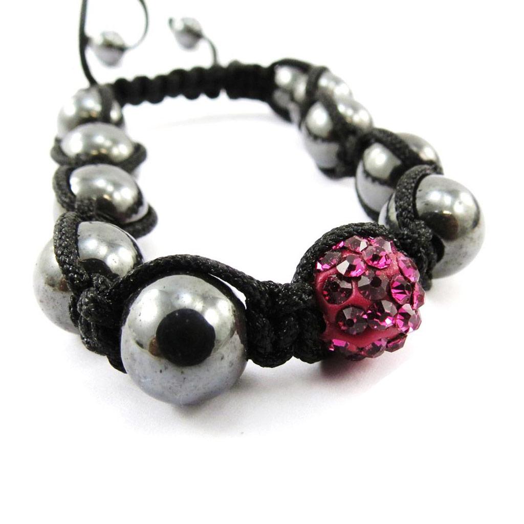 Bracelet ethnique \'Shambhala\' rose - [J4059]