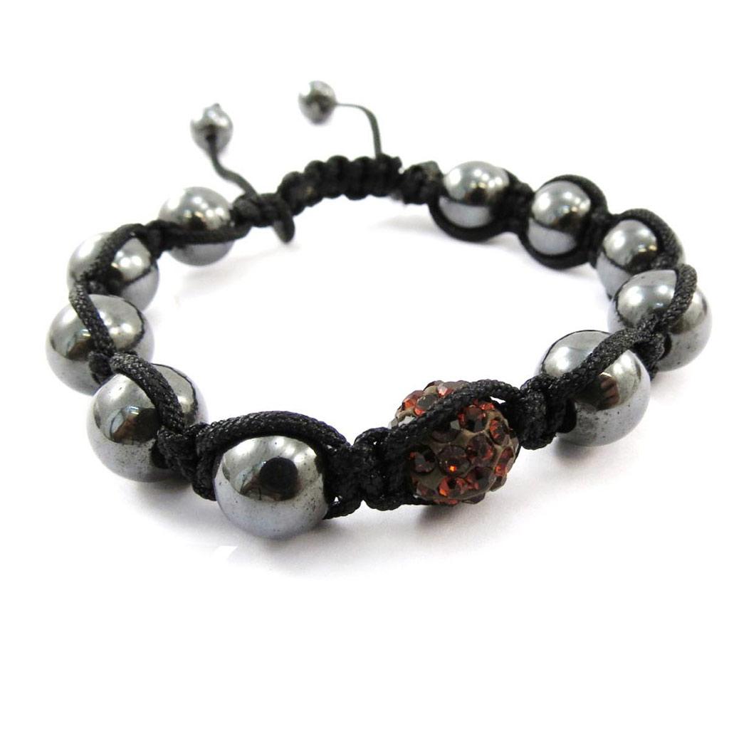 Bracelet ethnique \'Shambhala\' marron - [J4066]