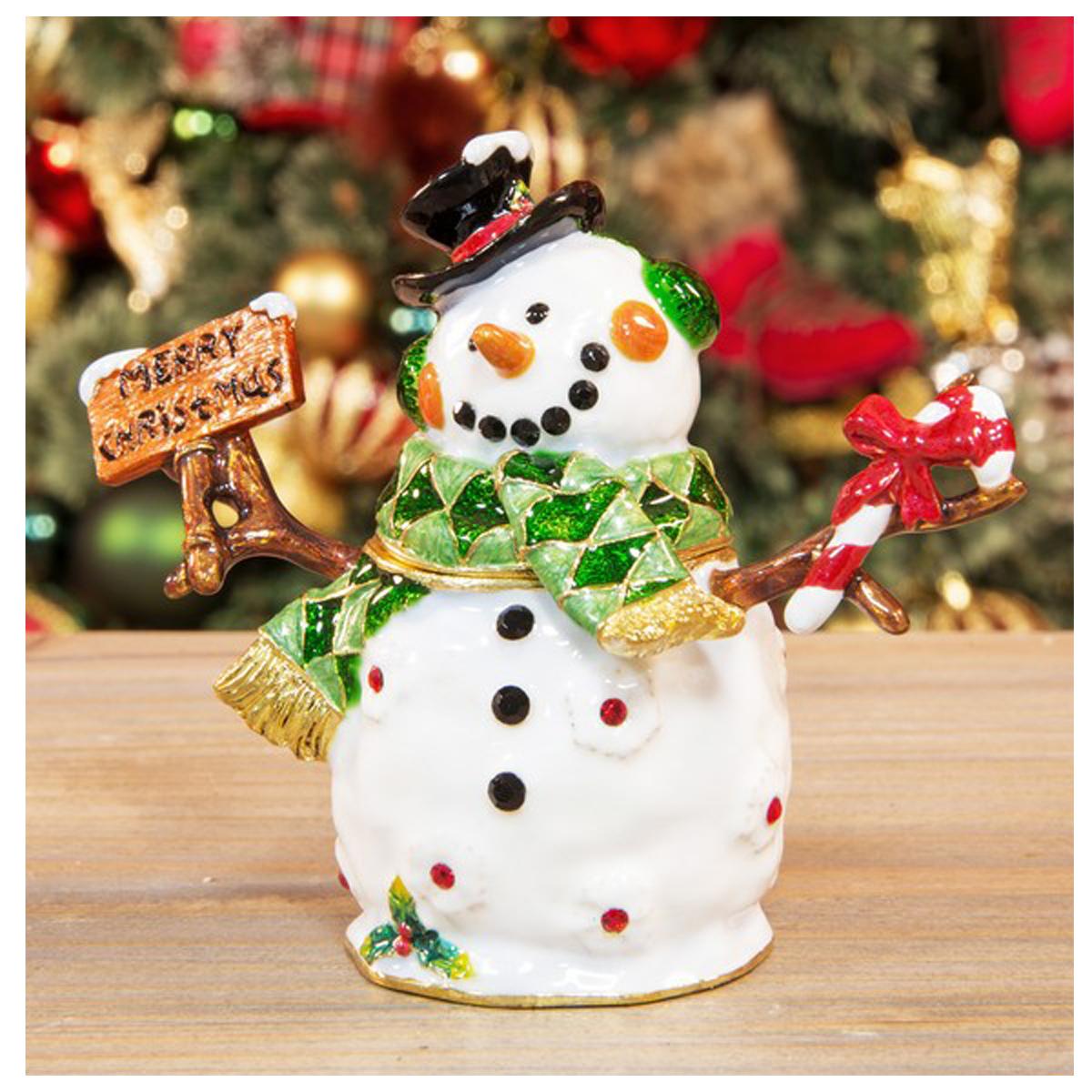 Coffret à Bijoux \'Bonhomme de neige\' blanc multicolore - 10x8 cm - [R1194]