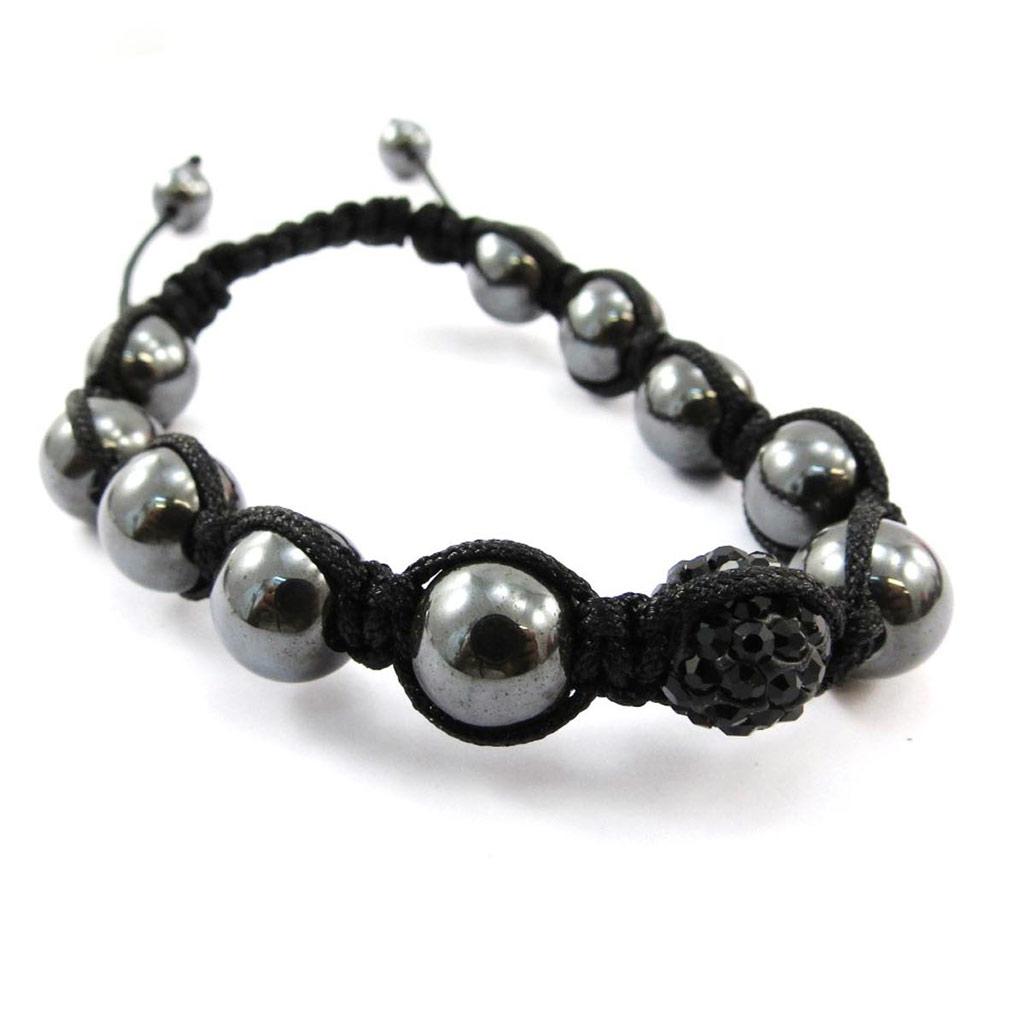 Bracelet ethnique \'Shambhala\' noir - [J4068]