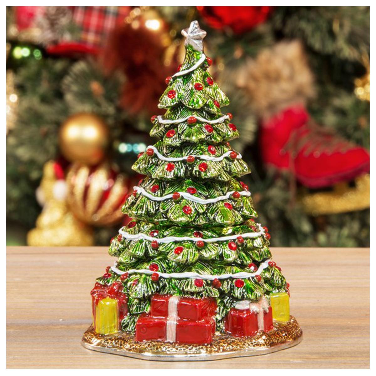 Coffret à Bijoux \'Sapin de Noël\' vert rouge - 8 cm - [R1196]