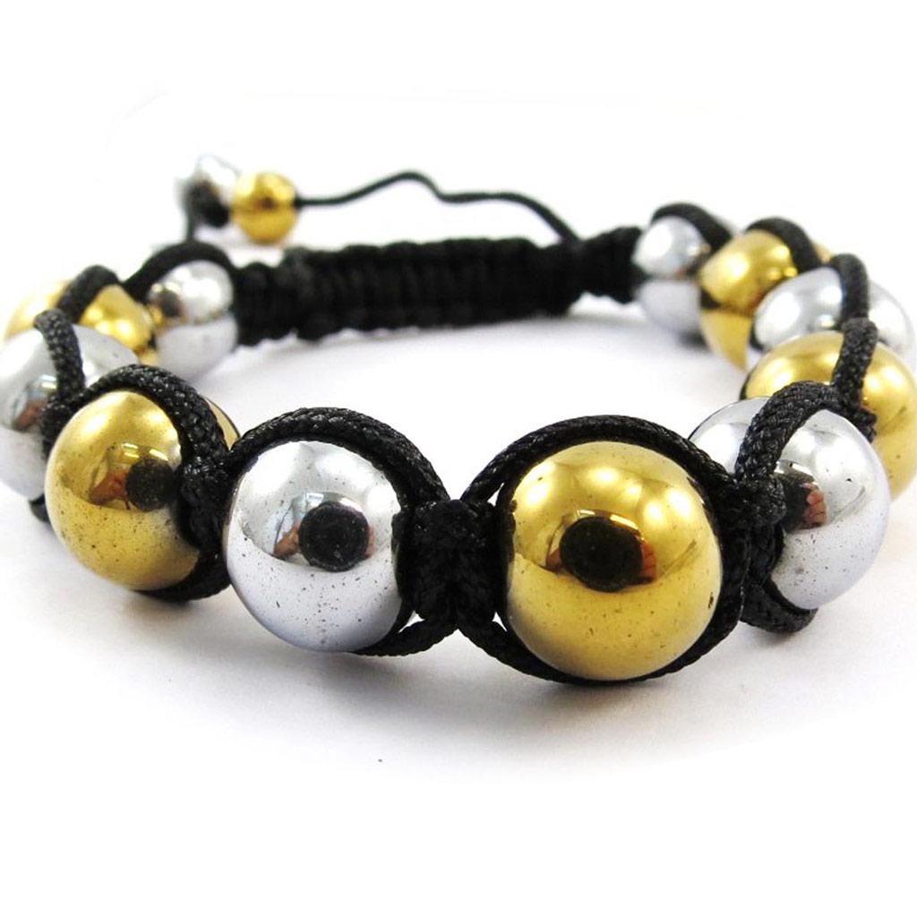 Bracelet ethnique \'Shambhala\' doré argenté - [J4077]