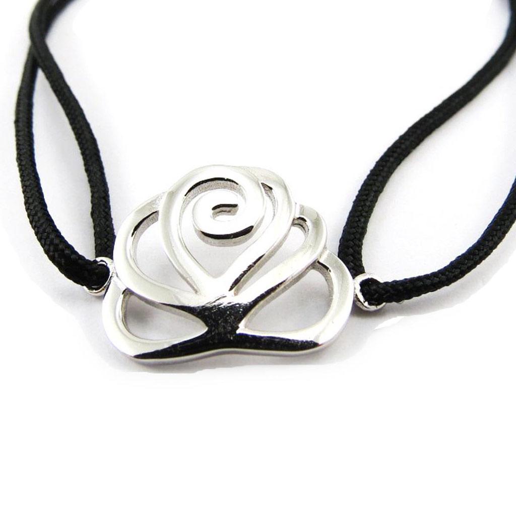 Bracelet Argent \'Flora\' noir - [J4082]