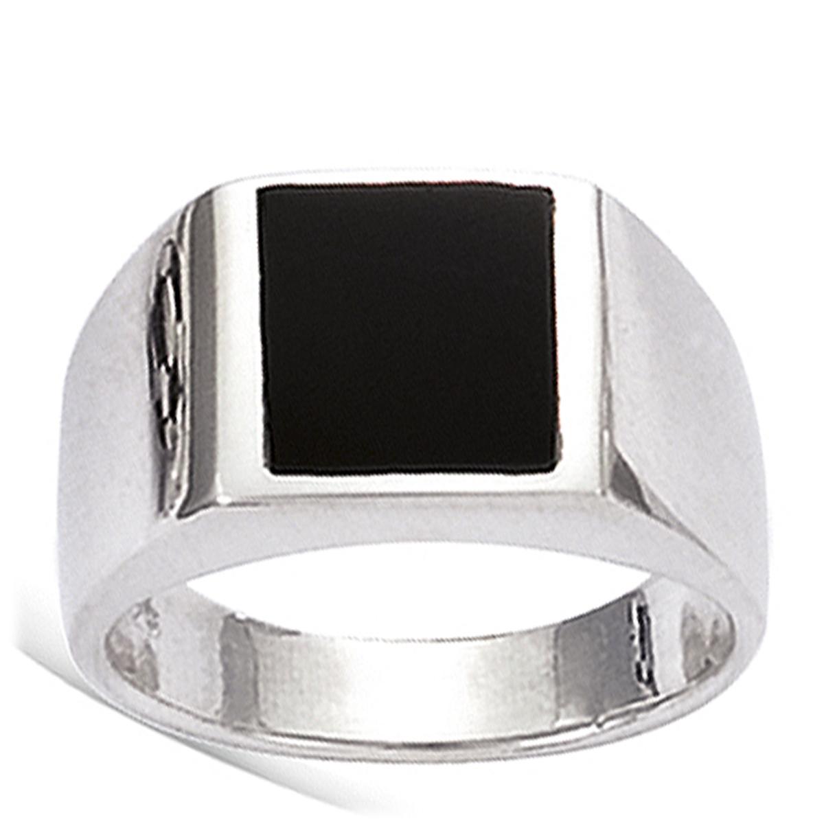 Bague Homme Argent \'King\' Noir argenté (rhodié) - 10x10 mm - [G5606]