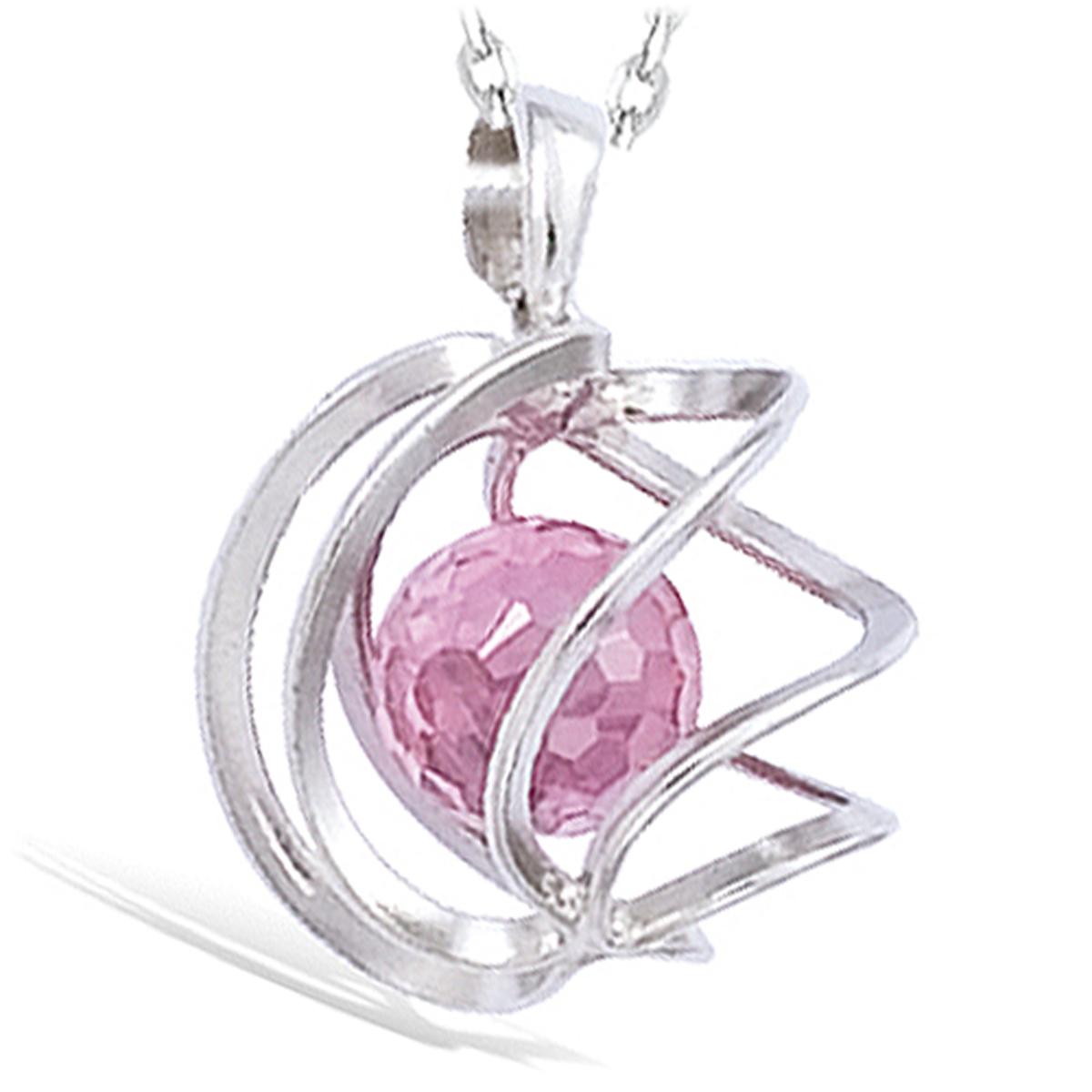 Pendentif Argent \'Alchimie\' rose argenté (rhodié) - 15 mm - [G5627]