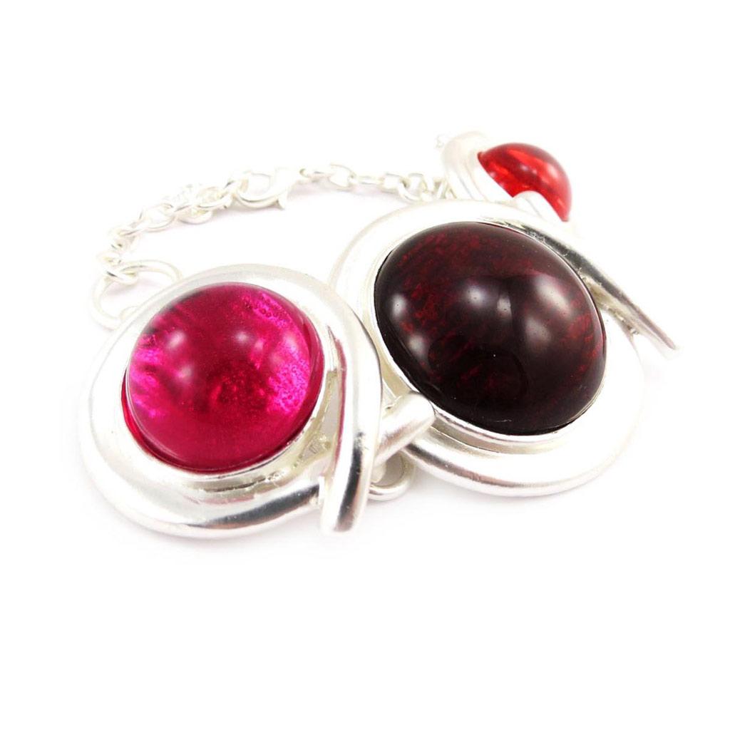 Bracelet Créateur \'Dragibus\' rose rouge argenté - [J4155]