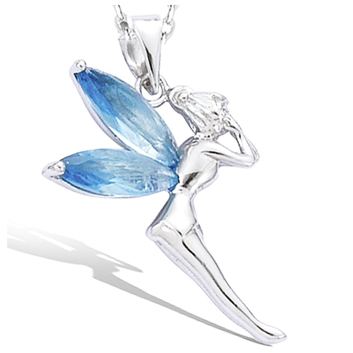 Pendentif Argent \'Fée Clochette\' aquamarine argenté (rhodié) - 20x27 mm - [G5632]