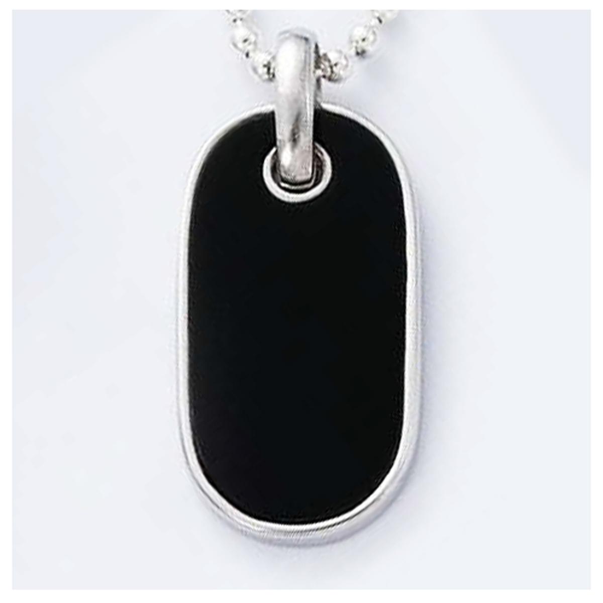 Médaille Argent \'Plaque Américaine\' noir argenté (rhodié) - 28x15 mm - [I4248]