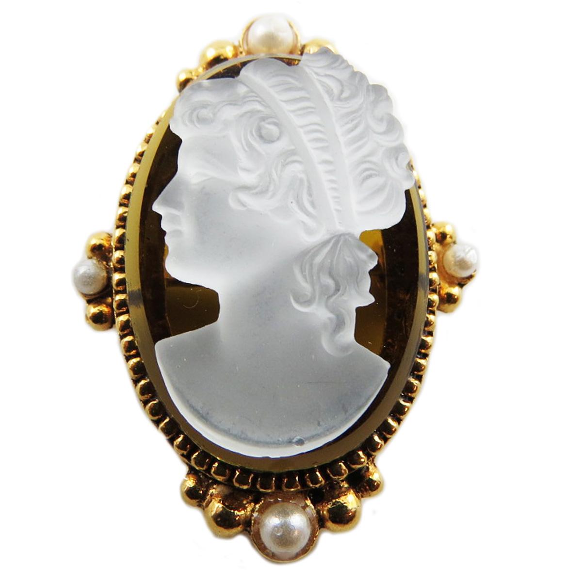 Broche artisanale \'Constantinople\' marron doré (camée) - 35x25 mm - [R1292]
