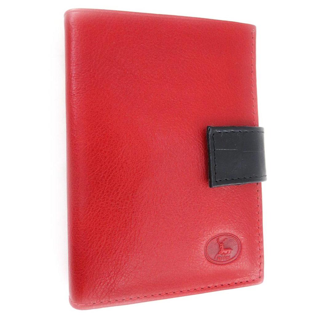 Portefeuille Cuir \'Frandi\' rouge noir (york /croco) (européen) - [J4284]