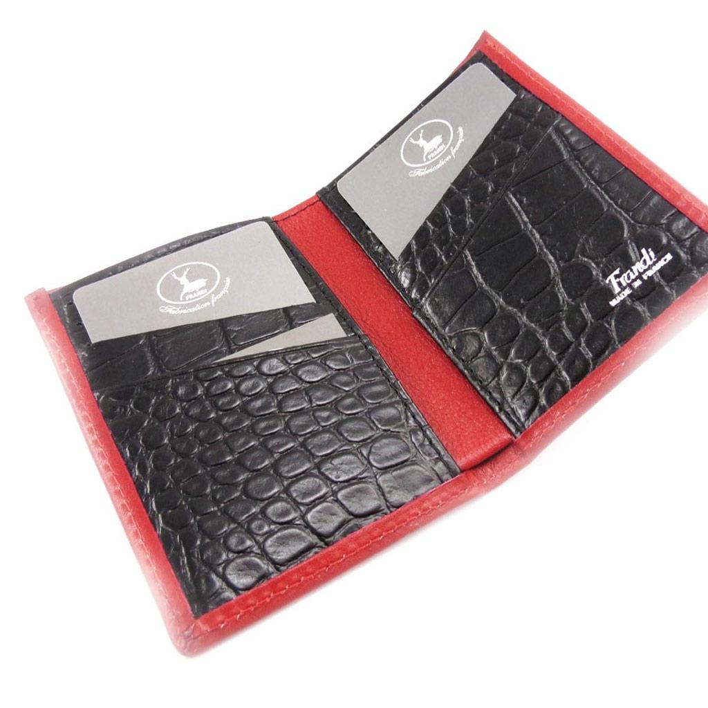 Porte-cartes Cuir \'Frandi\' rouge noir (york / croco) - [J4312]