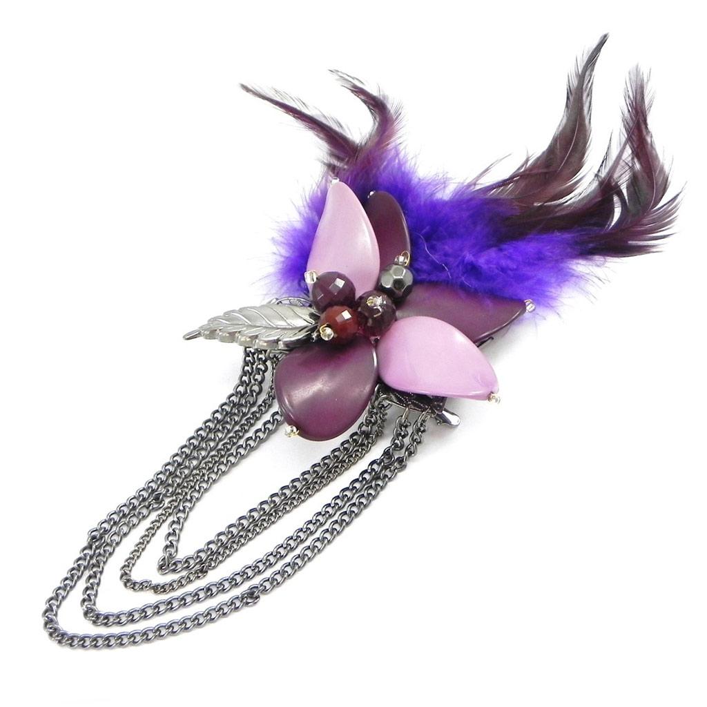 Broche Créateur \'Cheyennes\' violet - [I4474]