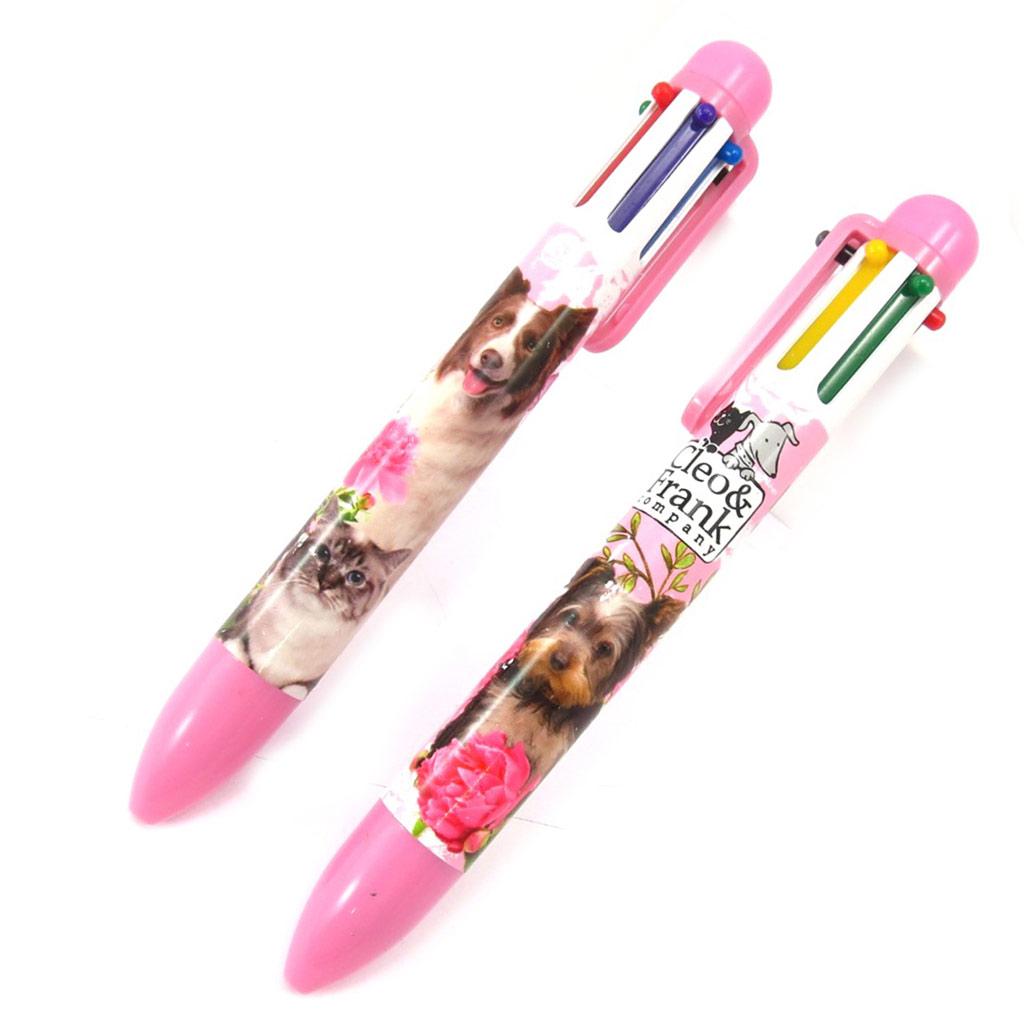 2 stylos 6 couleurs \'Cleo & Frank\' rose - [K3594]