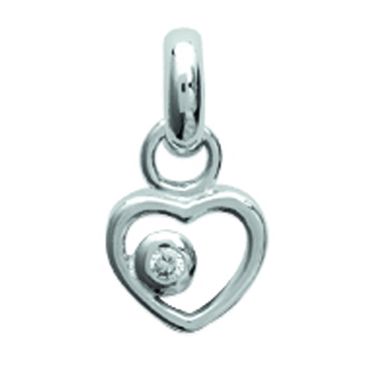 Pendentif Argent \'Love\' blanc argenté (rhodié) - 12x7 mm - [K3636]
