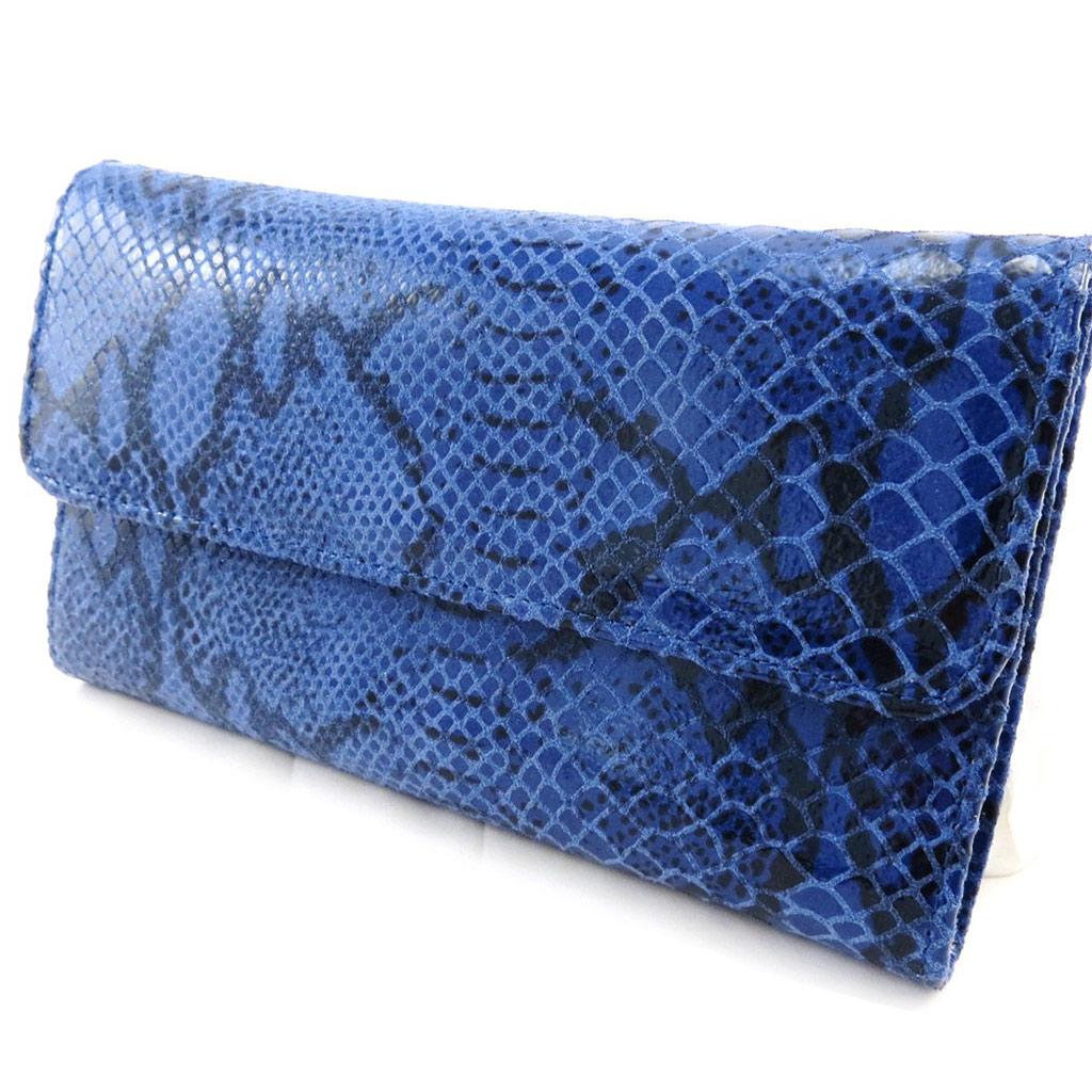 Compagnon Cuir \'Frandi\' bleu (motif python)  - [I4646]
