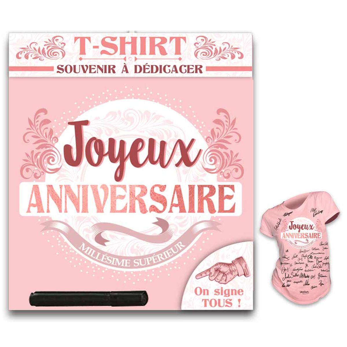 T-shirt \'Joyeux Anniversaire\' rose blanc - (dédicace) - [R1415]