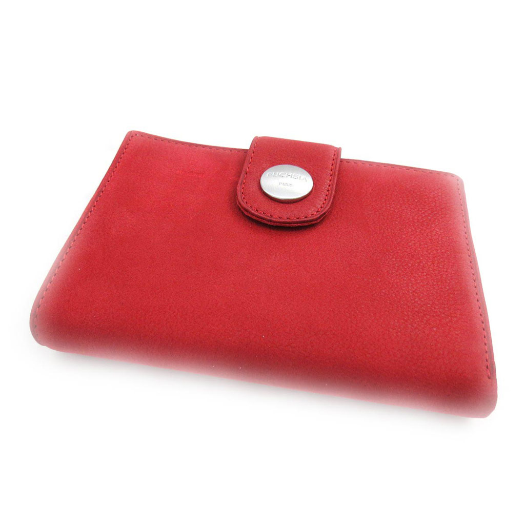 Portefeuille cuir \'Fuchsia\' rouge vintage - [J4600]