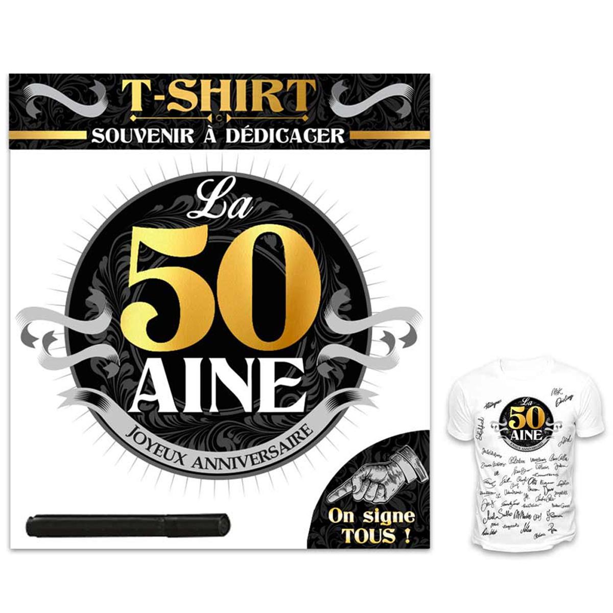T-shirt \'50 aine\' noir blanc - (dédicace) - [R1425]
