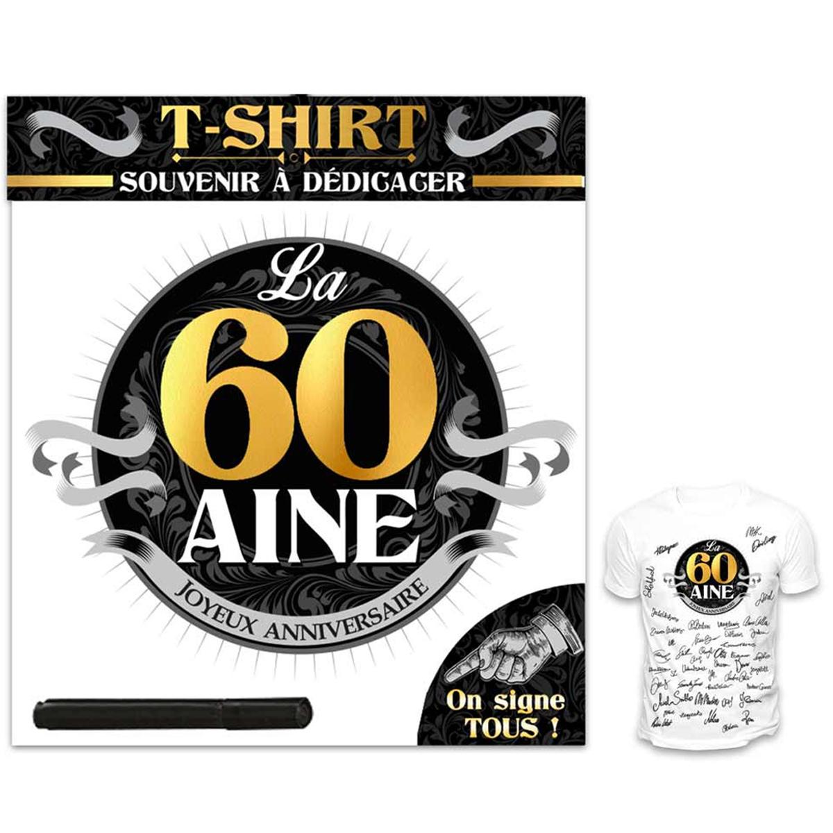 T-shirt \'60 aine\' noir blanc - (dédicace) - [R1426]