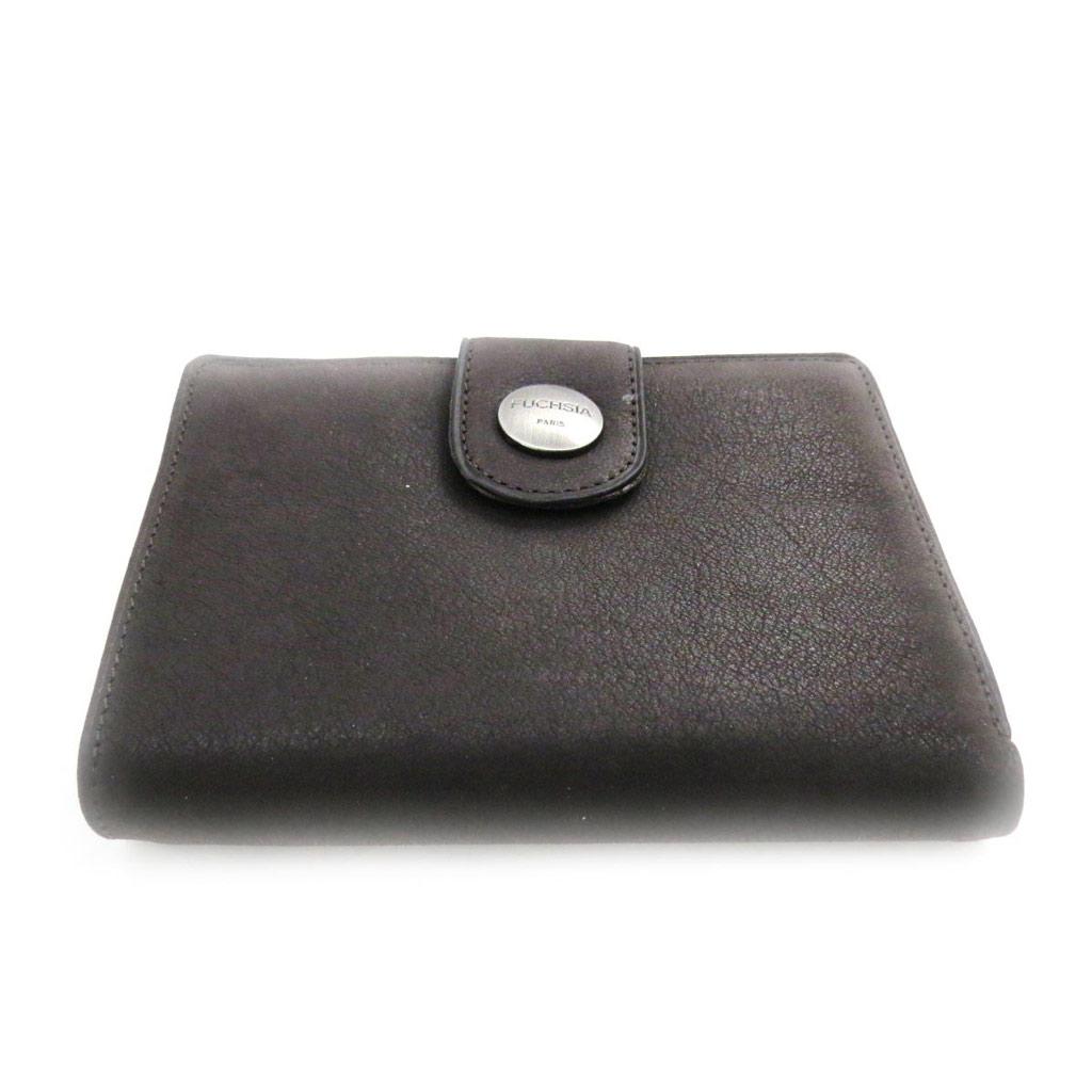 Portefeuille cuir \'Fuchsia\' marron vintage - [J4601]