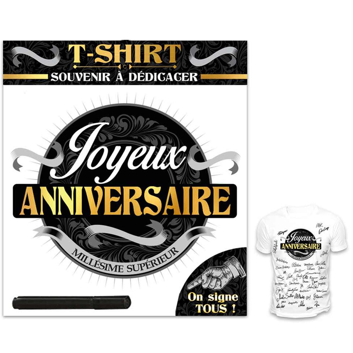 T-shirt \'Joyeux Anniversaire\' noir blanc - (dédicace) - [R1427]