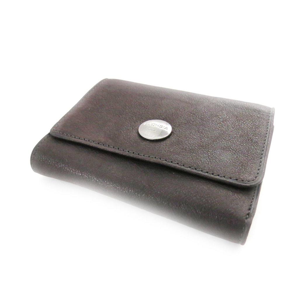 Porte-monnaie porte-cartes cuir \'Fuchsia\' marron vintage - [J4612]