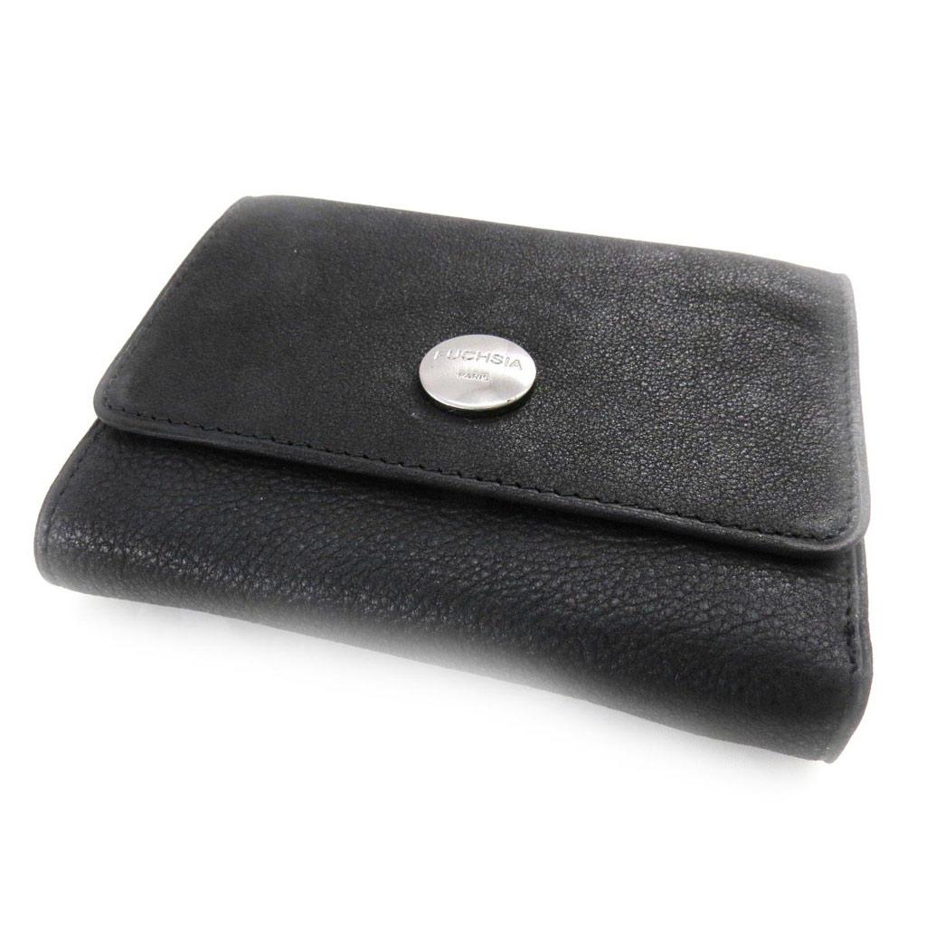 Porte-monnaie porte-cartes cuir \'Fuchsia\' noir vintage - [J4613]