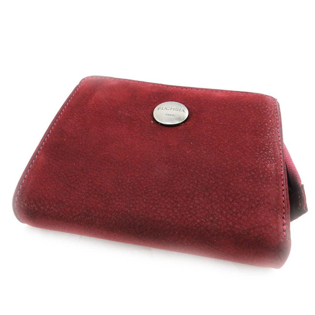 Porte-monnaie porte-cartes cuir \'Fuchsia\' bordeaux vintage - [J4614]