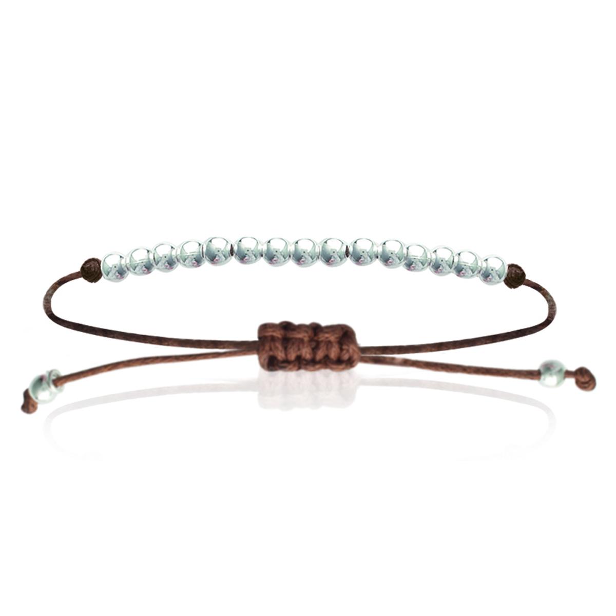 Bracelet Argent \'Billes\' marron - 4 mm - [I4720]