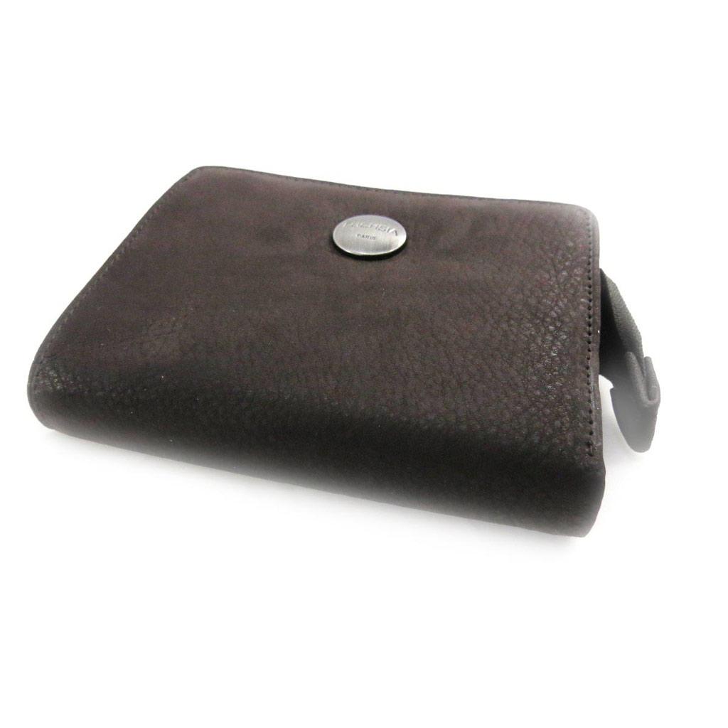 Porte-monnaie porte-cartes cuir \'Fuchsia\' marron vintage - [J4615]