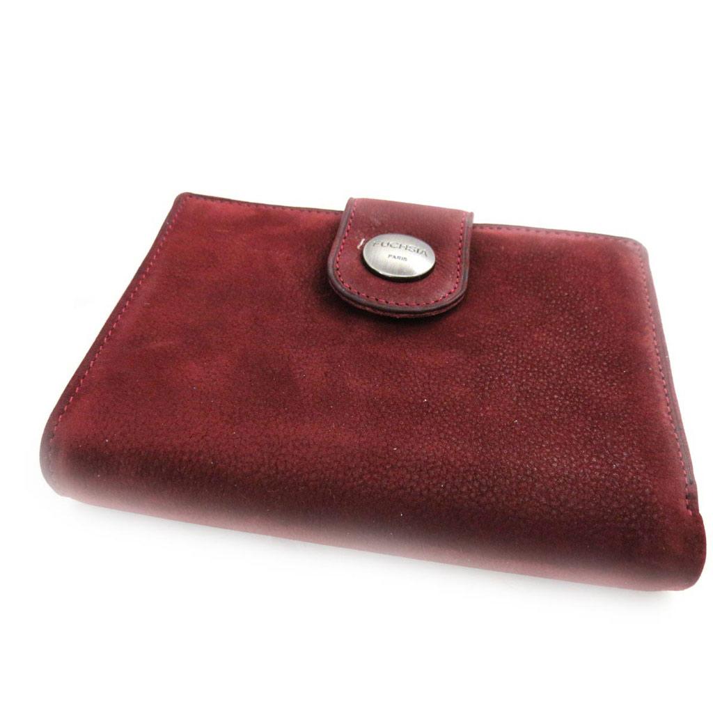 Portefeuille cuir \'Fuchsia\' bordeaux vintage - [J4620]