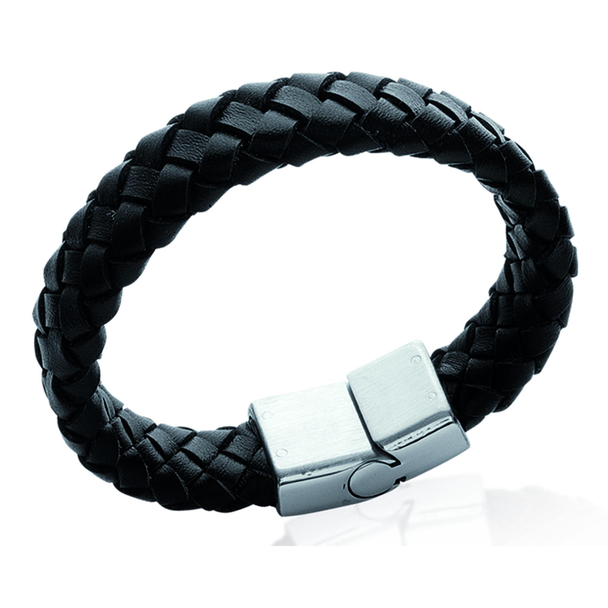 Bracelet acier cuir \'Tony\' noir argenté - 21 cm 15 mm - [I4731]