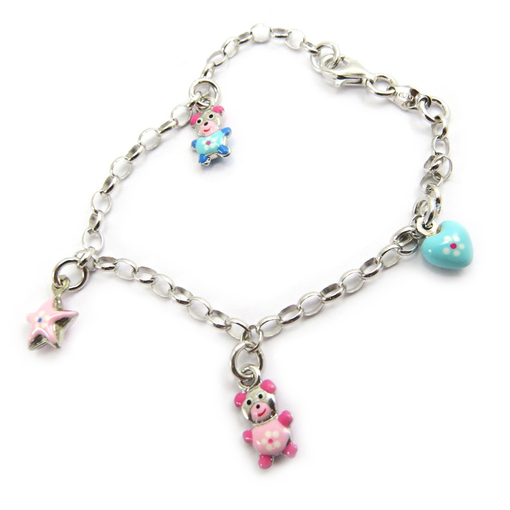 Bracelet Enfant \'Nounours\' rose bleu S&B - [G6505]
